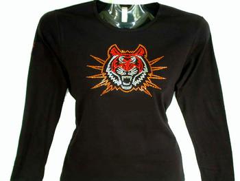 Bengal Tiger Swarovski Crystal Ladies Rhinestone T Shirt