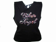 Biker Angel Swarovski Crystal Rhinestone Motorcycle T Shirt Top