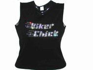 Biker Chick Swarovski Crystal Rhinestone Motorcycle T Shirt Top