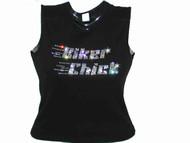 Biker Chick Swarovski Crystal Rhinestone Motorcycle T Shirt Top