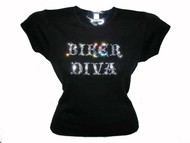 Biker Diva Motorcycle Swarovski Crystal Rhinestone Ladies T Shirt Top