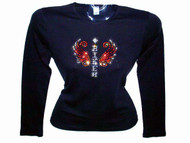 Biker Wings Swarovski Crystal Rhinestone Ladies Motorcycle T Shirt Top
