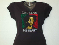 Bob Marley Swarovski Crystal Rhinestone T Shirt Top