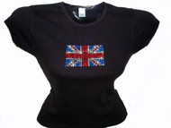 British Flag Swarovski Crystal Rhinestone T Shirt Top