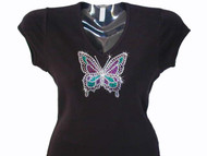 Butterfly Swarovski crystal rhinestone tee shirt