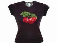 Cherries Swarovski crystal rhinestone tee shirt