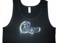 Chicago Band Logo Swarovski rhinestone tank top t shirt