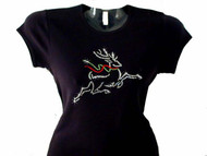Christmas Reindeer Bling T Shirt Made With Swarovski Crystals