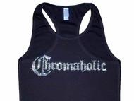 Chromaholic Swarovski rhinestone ladies biker tee shirt