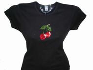 Cherries Swarovski Crystal Rhinestone T Shirt Design
