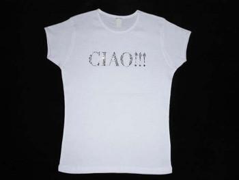 Ciao! Swarovski Crystal Rhinestone T Shirt