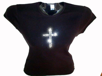 Christian Cross Rhinestone Bling T Shirt