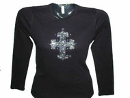 Religous Cross Swarovski Rhinestone Bling T Shirt