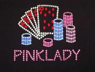 Custom Gambling Casino Logo Swarovski Crystal Rhinestone T Shirt