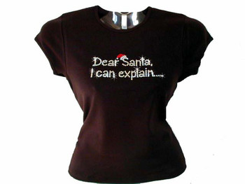 Christmas Dear Santa I Can Explain Swarovski Crystal Rhinestone T Shirt