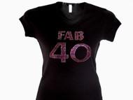 Fab 40 Swarovski rhinestone birthday tee shirt