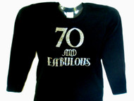 70 and Fabulous Swarovski rhinestonebirthday tee shirt