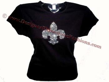 Fleur De Lis Rhinestone Bling T Shirt