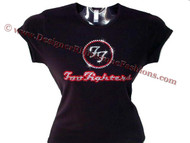 Foo Fighters Swarovski Crystal Rhinestone Concert T Shirt