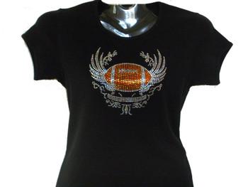 Football Swarovski crystal rhinestone t shirt