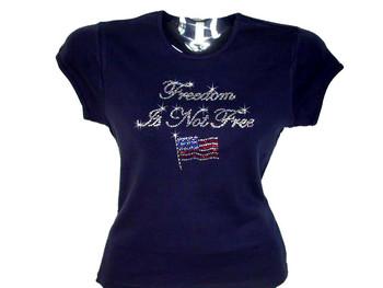 Freedom Is Not Free Patriotic Veteran's Swarovski Crystal Rhinestone T Shirt