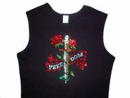 Freedom Dagger & Roses Swarovski Crystal Rhinestone T Shirt