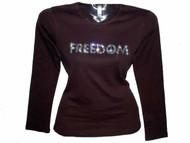 Freedom Patriotic Swarovski Crystal Rhinestone T Shirt