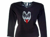 KISS Gene Simmons Swarovski Crystal Rhinestone T Shirt Top