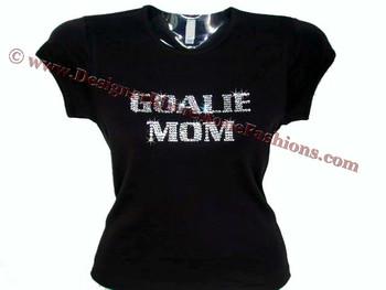 Goalie Mom Swarovski Rhinestone Shirt for ladies