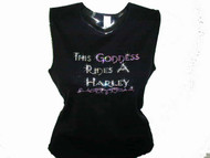 This Goddess Rides A Harley Swarovski Crystal Rhinestone Motorcycle T Shirt Top