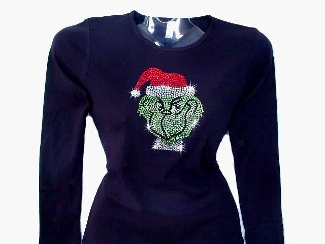 8e59b2d142cd6 Christmas Grinch Santa Holiday Swarovski Crystal Rhinestone T Shirt