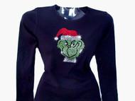 Christmas Grinch Swarovski Rhinestone T Shirt