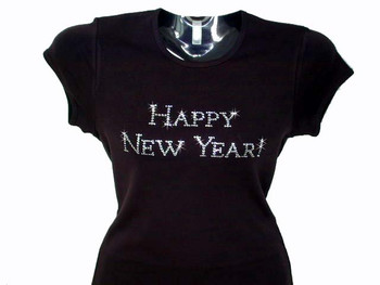 Happy New Year! Swarovski Crystal Rhinestone Bling T Shirt
