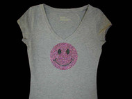 Happy Face Swarovski Crystal Rhinestone T Shirt Top