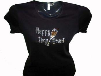 Happy New Year New Year's Eve Bling Swarovski Rhinestone T Shirt