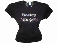 Harley Angel Swarovski Crystal Rhinestone Motorcycle Biker T Shirt Top