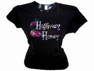 Highway Honey Lady Biker Rhinestone T Shirt
