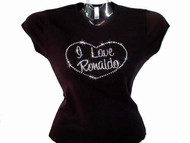 I Love (Name Of Your Choice) Swarovski Crystal Rhinestone T Shirt Design