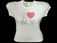 I Love New York Swarovski Crystal Rhinestone T Shirt Top iluvny1