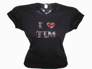 I Love Tim McGraw Swarovski Crystal Rhinestone Concert T Shirt Top