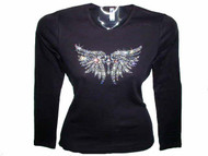 Cross & Angel Wings Swarovski Crystal Rhinestone T Shirt