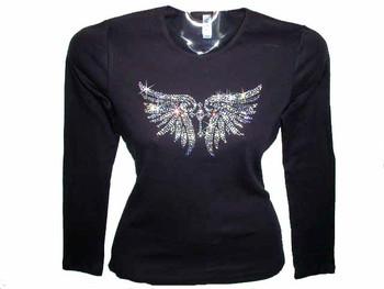 Cross & Angel Wings Swarovski Crystal Rhinestone T Shirt