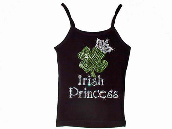 Irish Princess St. Patrick's Day Shamrock Crown Swarovski Rhinestone T Shirt