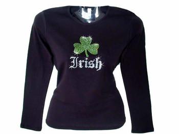Irish Shamrock Swarovski rhinestone t shirt
