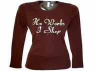 He Works I Shop Swarovski rhinestone tee shirt