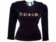 Italian Girl Swarovski rhinestone ladies tee shirt