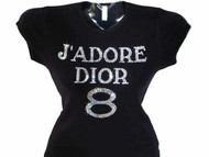 J'Adore Dior 8 Inspired Swarovski rhinestone tee shirt