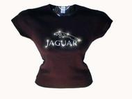Jaguar Logo Swarovski Crystal Rhinestone T Shirt Top