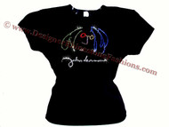 John Lennon Colorful Portrait & Signature Swarovski Crystal Rhinestone T Shirt Top