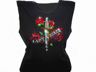 Lady Biker With Dagger & Roses Swarovski Crystal Rhinestone Motorcycle T Shirt Top